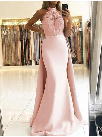 Trumpet/Mermaid Halter Sweep Train Evening Dresses With Lace