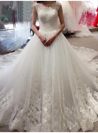 Ball-Gown Tulle Lace Sleeveless Scoop Royal Train Wedding Dresses