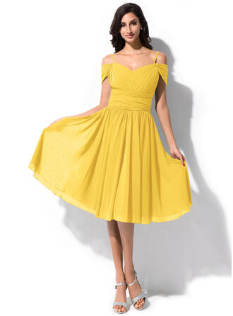 A-Line Off-the-Shoulder Knee-Length Chiffon Bridesmaid Dress With Ruffle