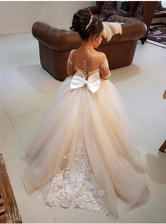Ball Gown Scoop Neck Sweep Train With Bow(s) Tulle/Lace Flower Girl Dresses
