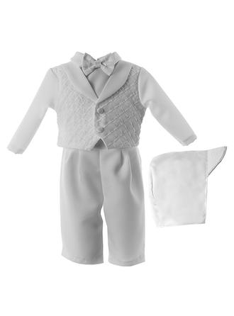 Peter Pan Collar Ankle-length Satin Christening Gowns With Bow(s)