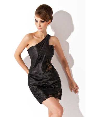 Sheath/Column One-Shoulder Short/Mini Charmeuse Cocktail Dresses With Ruffle Lace