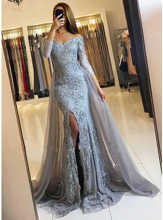 Trumpet/Mermaid Off-the-Shoulder Court Train Evening Dresses With Split Front