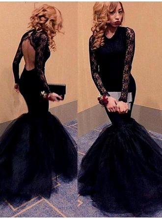 Trumpet/Mermaid Floor-Length Prom Dresses Scoop Neck Tulle Long Sleeves