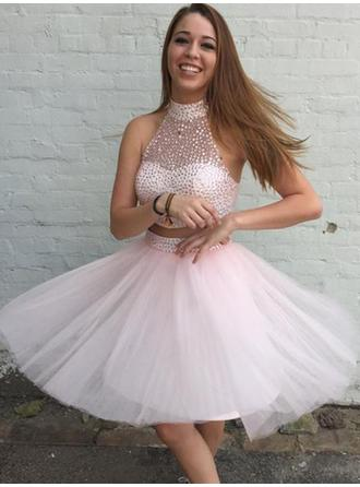 A-Line/Princess High Neck Short/Mini Homecoming Dresses With Beading