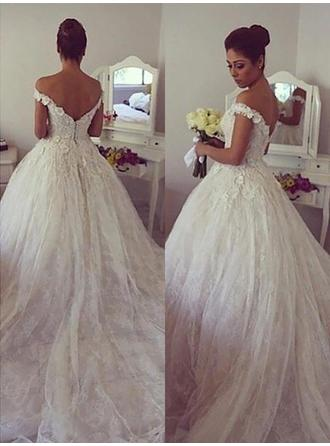 Gorgeous Off-The-Shoulder Ball-Gown Wedding Dresses Court Train Tulle Sleeveless