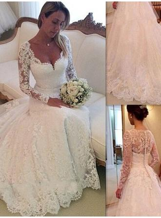 Ball-Gown Lace Long Sleeves V-neck Chapel Train Wedding Dresses