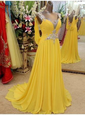 A-Line/Princess Chiffon Prom Dresses Beading Appliques Lace V-neck Sleeveless Sweep Train