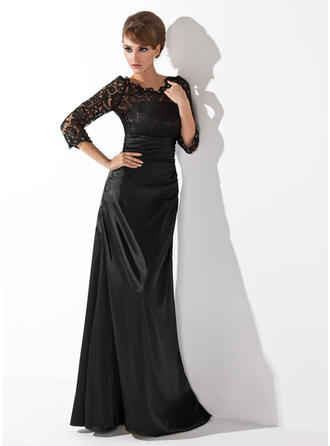 A-Line/Princess Charmeuse Lace 3/4 Sleeves Scoop Neck Floor-Length Zipper Up Mother of the Bride Dresses