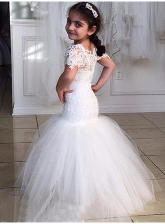 Sexy Scoop Neck Trumpet/Mermaid Flower Girl Dresses Floor-length Tulle/Lace Short Sleeves