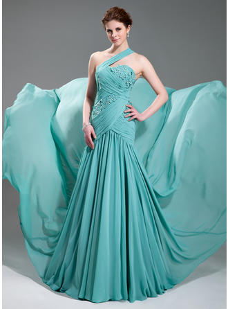 A-Line/Princess One-Shoulder Court Train Evening Dresses With Ruffle Beading Appliques Lace