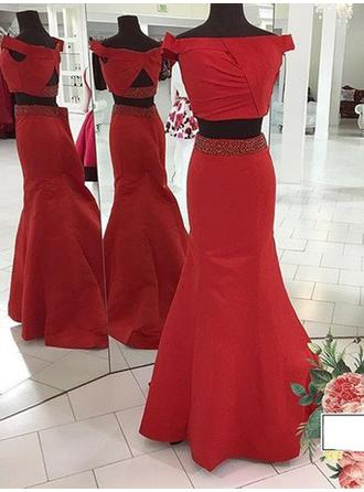Trumpet/Mermaid Off-the-Shoulder Sweep Train Detachable Prom Dresses With Beading