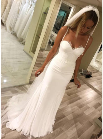 Sheath/Column Sweetheart Sweep Train Wedding Dresses With Lace