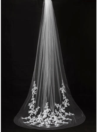 Cathedral Bridal Veils Tulle One-tier Drop Veil With Cut Edge Wedding Veils