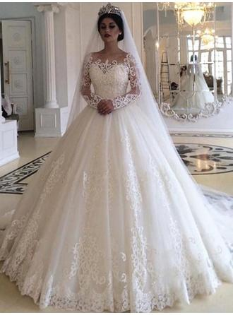 Ball-Gown Off-The-Shoulder Court Train Wedding Dresses With Appliques