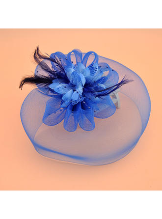 Organza With Feather/Silk Flower Fascinators Vintage Ladies' Hats