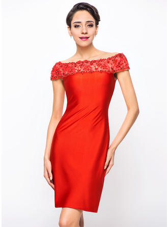 Sheath/Column Off-the-Shoulder Knee-Length Cocktail Dresses With Lace Beading Sequins