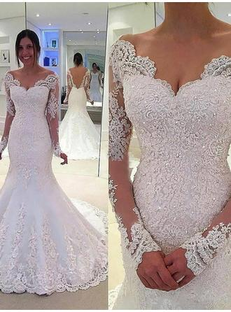 Trumpet/Mermaid Lace Long Sleeves Off-The-Shoulder Chapel Train Wedding Dresses