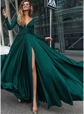 A-Line/Princess Chiffon Prom Dresses Ruffle Split Front V-neck Long Sleeves Floor-Length