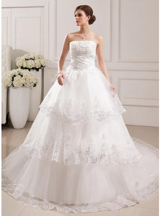 Simple Strapless Ball-Gown Wedding Dresses Cathedral Train Tulle Sleeveless