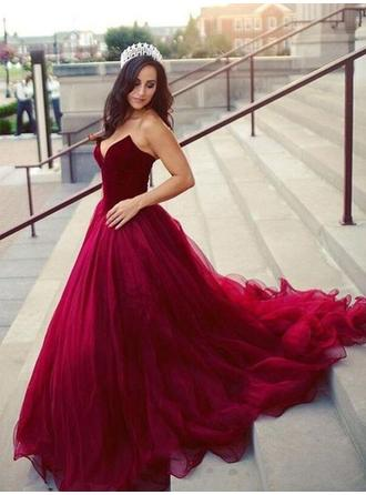 Ball-Gown Sweetheart Court Train Prom Dresses
