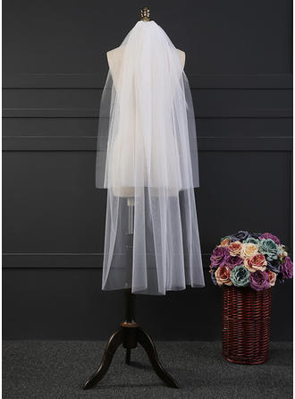 Waltz Bridal Veils Tulle Two-tier Drop Veil With Cut Edge Wedding Veils