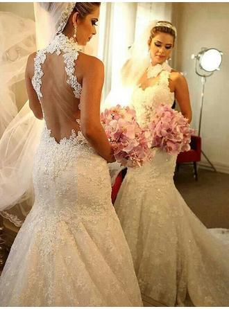 Trumpet/Mermaid Tulle Sleeveless High Neck Chapel Train Wedding Dresses