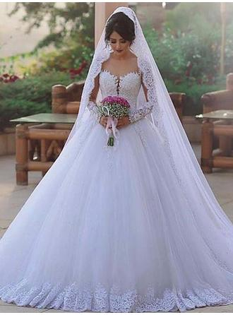 Ball-Gown Sweetheart Sweep Train Wedding Dresses With Lace