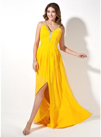 A-Line/Princess V-neck Sweep Train Evening Dresses With Ruffle Beading Split Front