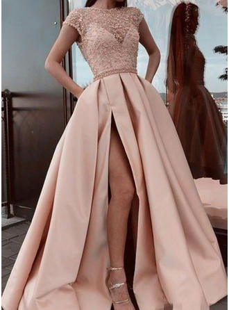 A-Line/Princess Scoop Neck Sweep Train Prom Dresses With Ruffle Lace Split Front