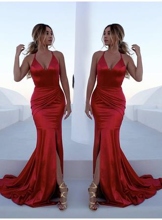 Trumpet/Mermaid V-neck Sweep Train Evening Dresses With Ruffle Split Front