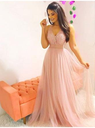 A-Line/Princess V-neck Sweep Train Prom Dresses With Beading