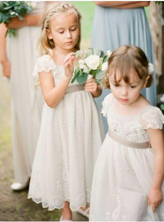 Princess Square Neckline A-Line/Princess Flower Girl Dresses Ankle-length Chiffon Sleeveless