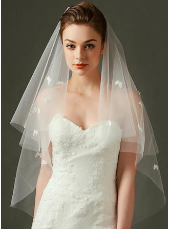 Fingertip Bridal Veils Tulle One-tier Rectangular With Cut Edge Wedding Veils