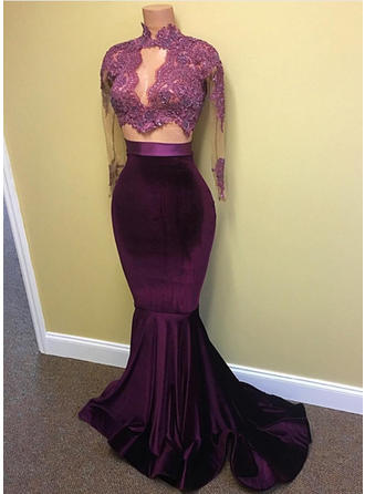 Trumpet/Mermaid High Neck Sweep Train Evening Dresses With Lace Beading Sequins