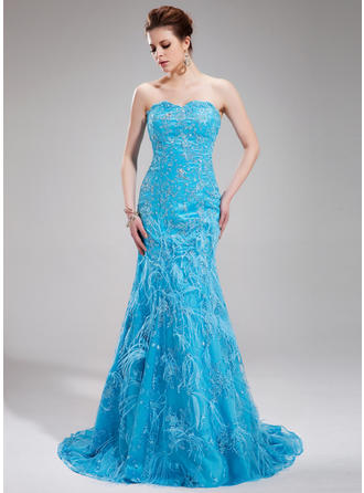 Trumpet/Mermaid Sweetheart Sweep Train Evening Dresses With Beading Feather Sequins