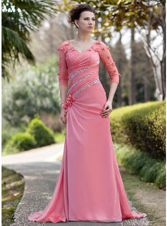 A-Line/Princess Chiffon 3/4 Sleeves V-neck Sweep Train Zipper Up Mother of the Bride Dresses
