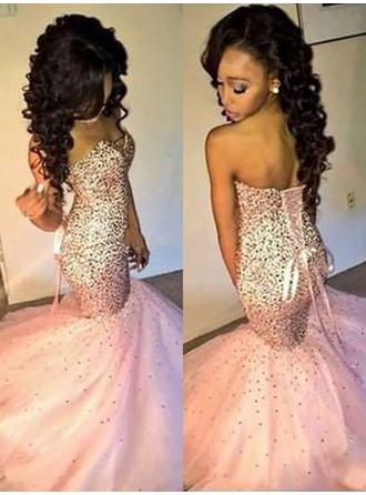 Trumpet/Mermaid Sweetheart Sweep Train Evening Dresses With Sequins