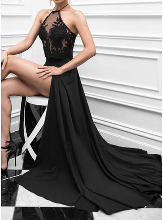 A-Line/Princess Halter Sweep Train Prom Dresses With Lace
