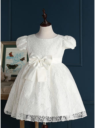 A-Line/Princess Jewel Short/Mini With Bow(s) Lace Flower Girl Dresses