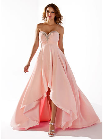 Empire Sweetheart Asymmetrical Prom Dresses With Ruffle Beading Sequins