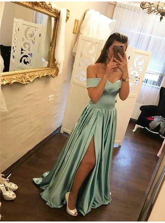 A-Line/Princess Off-the-Shoulder Sweep Train Evening Dresses With Ruffle