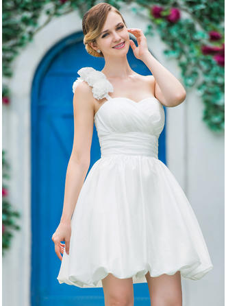 A-Line/Princess One Shoulder Short/Mini Wedding Dresses With Ruffle Flower(s)