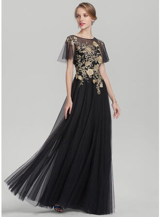 A-Line/Princess Scoop Neck Floor-Length Tulle Evening Dress With Lace