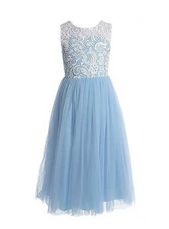 A-Line/Princess Scoop Neck Floor-length With Pleated Tulle/Lace Flower Girl Dresses