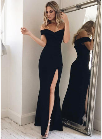 Trumpet/Mermaid Off-the-Shoulder Floor-Length Prom Dresses With Split Front