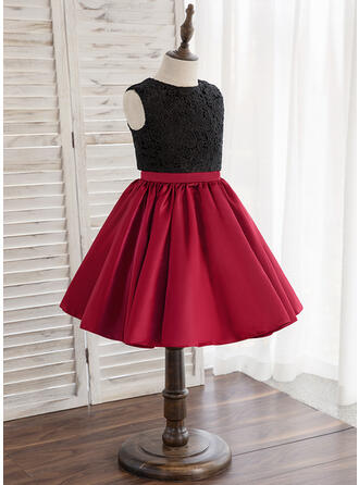 A-Line/Princess Knee-length Flower Girl Dress - Tulle/Lace Sleeveless Scoop Neck With Back Hole