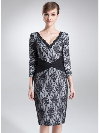 Sheath/Column Charmeuse Lace 3/4 Sleeves V-neck Knee-Length Zipper Up Mother of the Bride Dresses