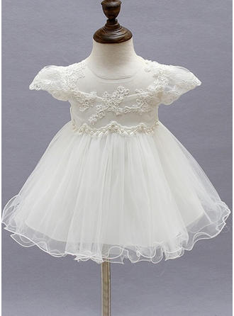A-Line/Princess Scoop Neck Ankle-length Tulle Christening Gowns With Beading Flower(s)