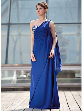 A-Line/Princess Chiffon Sleeveless One-Shoulder Floor-Length Zipper Up at Side Mother of the Bride Dresses